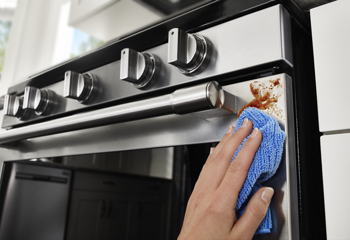 Smudge resistant stainless steel appliances are easy to clean.